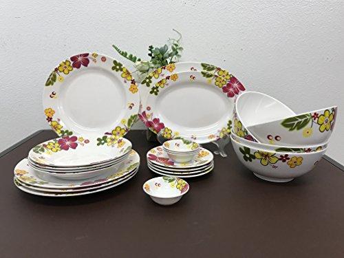 MrTableware 22-Piece Melamine Dinnerware Set Flower V236