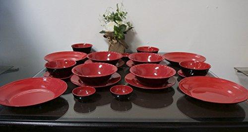 MrTableware 24-piece Melamine Dinnerware Japanese Redblack Bowls Plates