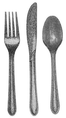 Creative Converting Premium Plastic Glitz Silver Glitter Cutlery 24 Utensils Per Package
