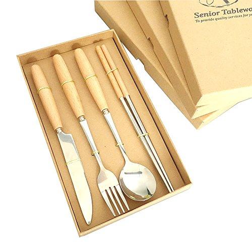 Osierl Wood Handle 4-Piece Flatware Set Stainless Steel Silver Cutlery Set