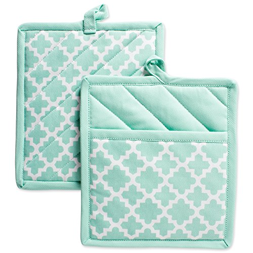 DII Cotton Lattice Pot Holders 9 x 8 Set of 2 Machine Washable and Heat Resistant Hot Pad for Everyday Kitchen Cooking Baking-Aqua