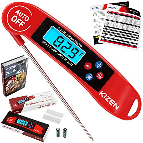 Kizen Instant Read Meat Thermometer - Best Super Fast Talking Digital Thermometer for Food Kitchen Cooking BBQ Grill Includes many BONUS extras Red
