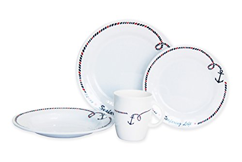 Norestar Non-Skid 16-Piece Melamine Dishware Set for BoatRV Bowls Plates Mugs Ideal as Gift Anchor Collection