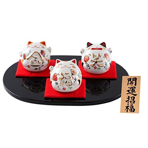 FUN fun Beckoning Cat Maneki Neko White Chinaware Height 31-Inch Kaiunnshouhuku