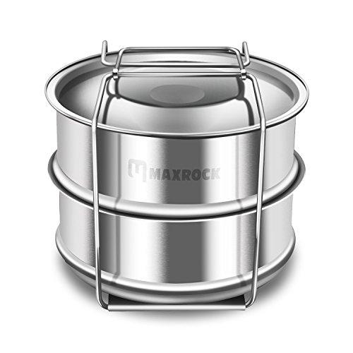 MR 2 Tier Stackable Stainless Steel Steamer IP Accessories for Pot in Pot Pressure Cooker-Fits 6 8 Quart Instant Pot 2 Tier Steamer Basket with Trivet