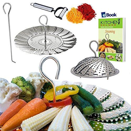 PREMIUM Veggie Steamer Basket - LARGE - 64-103 - Fits 568 Quart Instapot Electric Pressure Cooker - 100 Stainless Steel - BONUS Julienne Vegetables Peeler Safety Tool Cooking eBook