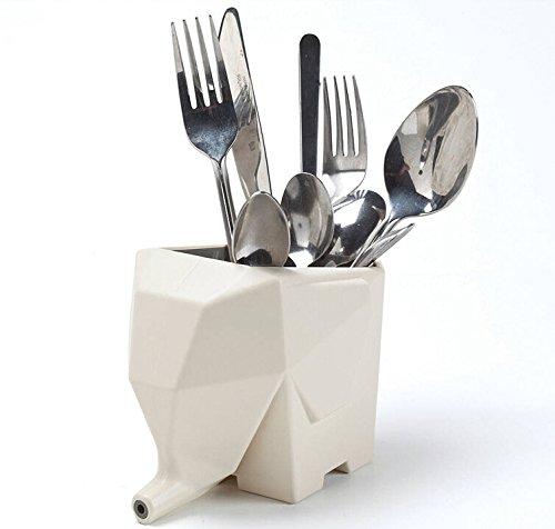 Elephant-shaped Multi-role Plastic Cutlery Drainerflower Potbrush Pot-ivory