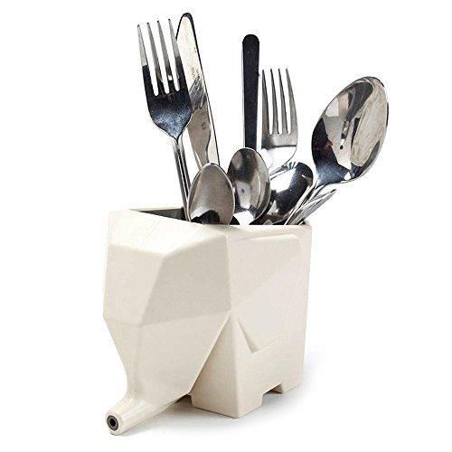 Kasstino Lovely Elephant Shape Multi-purpose Cutlery Drainer Brush Flower Pot Storage Holder