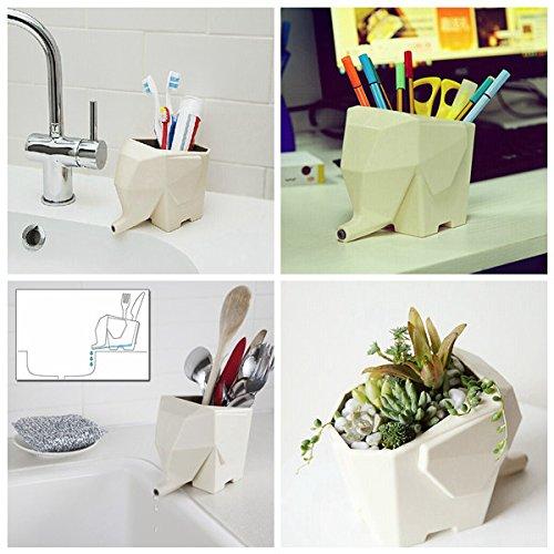 Lovely Elephant Shape Multi-purpose Cutlery Drainer Brush Flower Pot