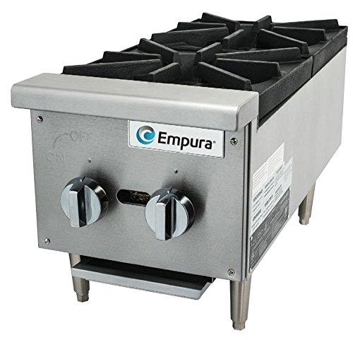 Empura EMSHP-2 12 Wide 2-Burner Stainless Steel Medium Duty Gas Power Countertop Hot Plate 52000 BTU