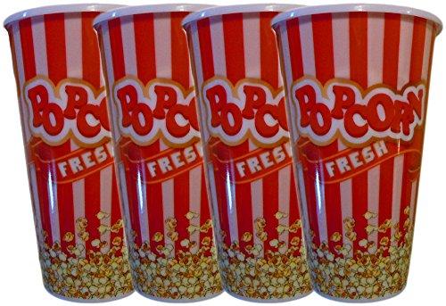 Black Duck Brand Personal Size Plastic Red Popcorn Buckets Bowls Fun Design Perfect Size 4