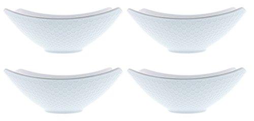 Over and Back Honeycomb Porcelain Serving Bowls - Set of 4