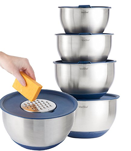 VonShef Stainless Steel 5 Piece Mixing Bowl Set - with Lids Non-Slip Surface and 3 Grater Attachments