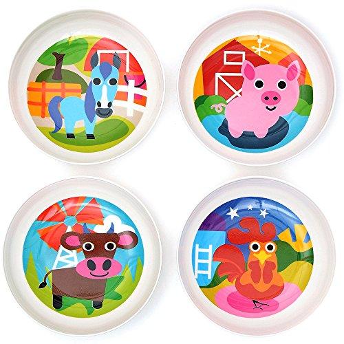French Bull - BPA Free Kids Bowls - Melamine Kids Bowl Set - Kids Dinnerware - Farm Set of 4