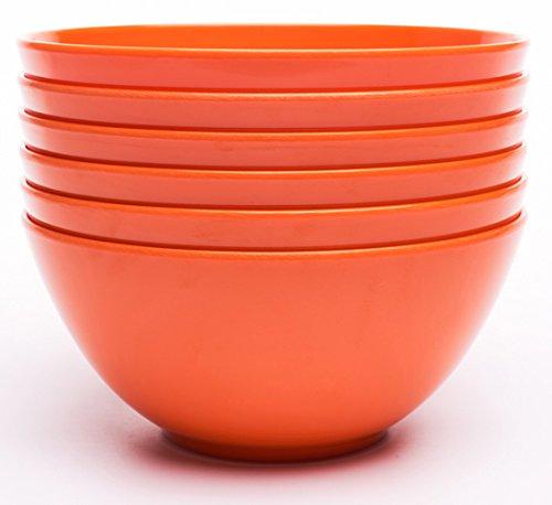 Yinshine Melamine 6 Inch Dinnerware Soup Bowls Set of 6 Orange