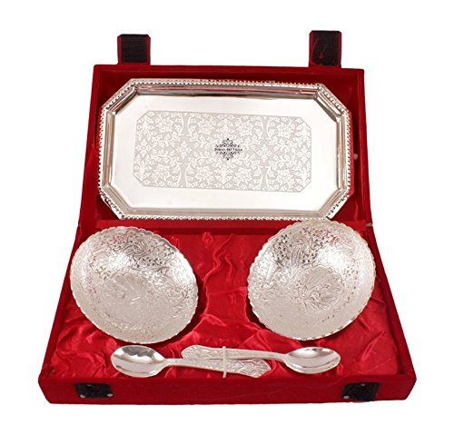 IndianArtVilla 2 Silver Plated Spoons and Bowls with Tray  7 Oz Royal and Designed  with Rich and Royal look Perfect for Gifting and Serving