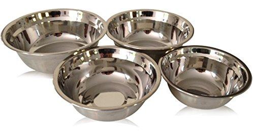 Checkered Chef Stainless Steel Mixing Bowl Set 4 Metal Prep Bowls Dishwasher Safe