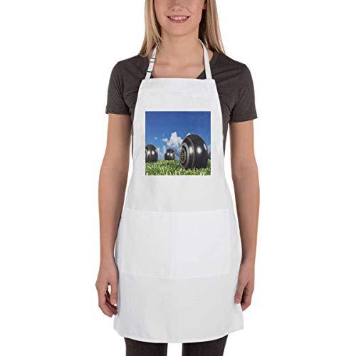 4 bthfiron Adjustable Bib Apron - Lawn Bowls Fashion Apron with Two Pockets for Kitchen Cooking Restaurant Dishwashing BBQ for Women