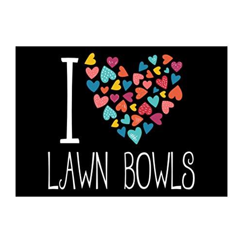 Idakoos I Love Lawn Bowls Colorful Hearts Sticker Pack x4 6x4