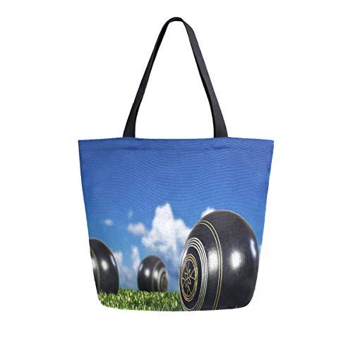 Reusable Grocery Shopping Bag Lawn Bowls Womens Canvas Tote Bags Foldable Shoulder Handbags