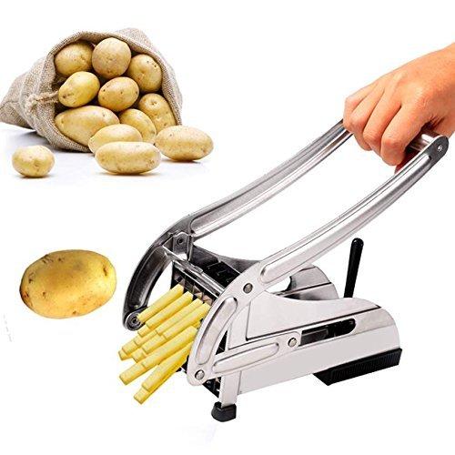 eshion Stainless Steel French Fry Cutter Maker Vegetable Slicer Chopper Potato Chipper 2 Blades