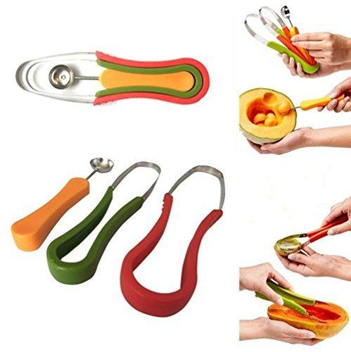 Melon Baller and Fruit Scoop 3 Piece Set Creative Stainless Steel Fruit Slicer Dig Pulp Separator