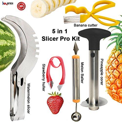 iMustech 5 Pcs Fruit Knives SetFruit Slicer SetMelon Baller ScoopPineapple CorerBanana CutterStrawberry HullerWatermelon SlicerVegetable CuttersFruit CarvingExcellent Kitchen Tools Gadgets