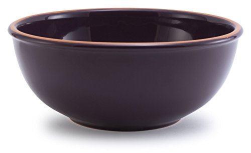 Plum Purple Glazed Terracotta Ceramic Mixing Bowl 115Dx475H