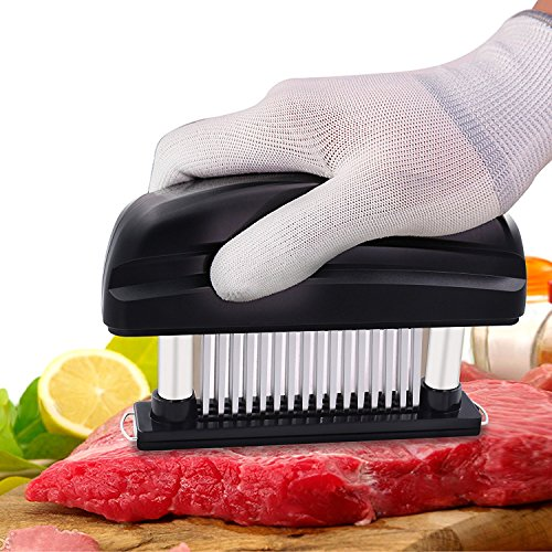 Meat Tenderizer Alamic Tenderizer Tool Stainless Steel 48 Ultra Sharp Needle Blades Home Professional Kitchen Meat Tool for Chicken Steak Beef Pork Fish - Black
