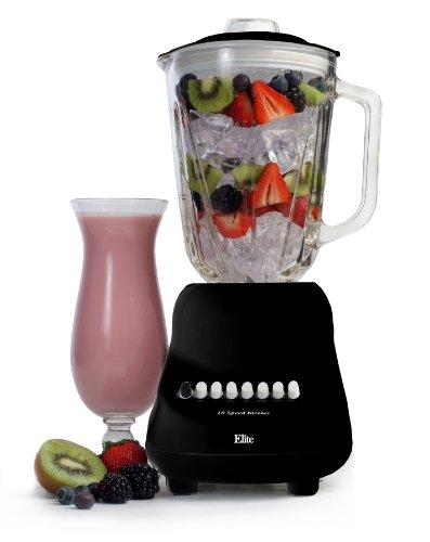 Elite Gourmet EBL-2000GB Maxi-Matic 10-Speed Blender with 48-Ounce Glass Jar 450-Watt Black