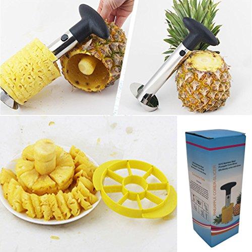 Pineapple Corer Slicer Cutter Peeler Divider Silver Stainless Steel Fruit De-Corer Stem Remover
