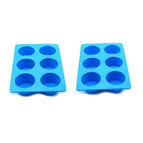 Wolecok 2 Packs Muffin Pan6 Cups Silicone Cupcake Baking Tray Blue