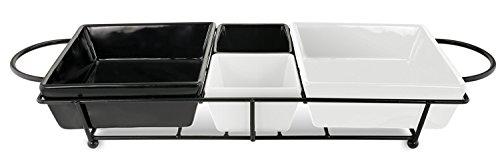 KOVOT Elegant Ceramic Server With Metal Frame Rack - Black White Tidbits And Snack Serving Platter