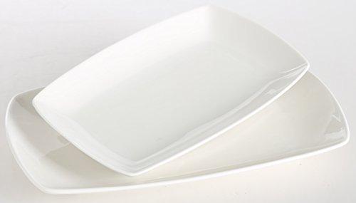 SOLECASA 1012-inch Oblong Shape White PorcelainCeramic Dinner Serving DishesPlatePlatterFish Serving Plate