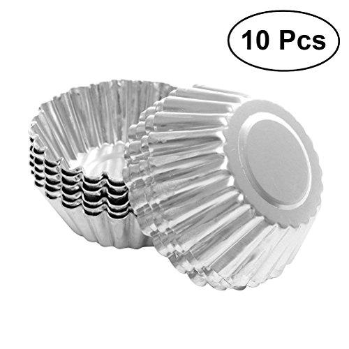 BESTOMZ 10pcs Nonstick Ripple Aluminum Alloy Egg Tart Mold Flower Shape Reusable Cupcake and Muffin Baking Cup Tartlets Pans