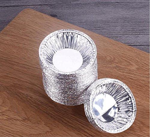 VNDEFUL 250PCS Disposable Baking Tinfoil Cupcake Circular Egg Tart Mold Cups