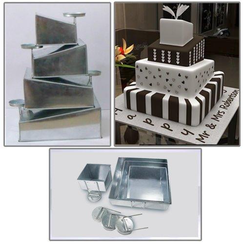 Euro Tins multi layer cake pans Topsy Turvy Square 4 tier wedding cake pan - cake tin set with detachable stand