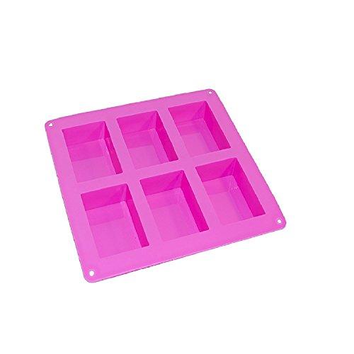 ALEKO SFC05 Rectangle Silicone Bread Mold Tray with 6 Bread Holes Purple