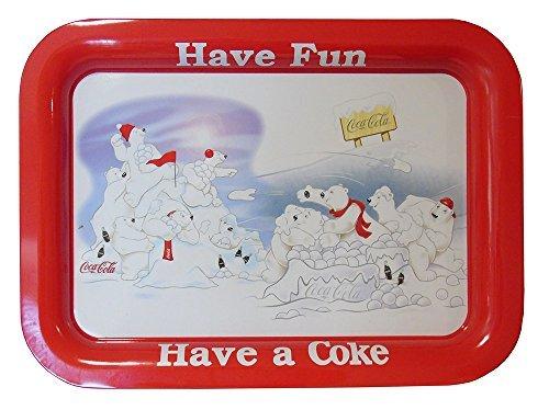 Have Fun Have a Coca Cola Polar Bear Metal Serving Tray by Coca-Cola
