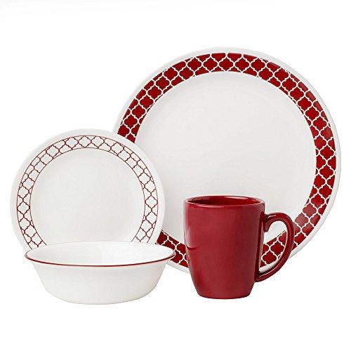 Corelle 16 Piece Crimson Trellis Livingware Dinnerware Set White