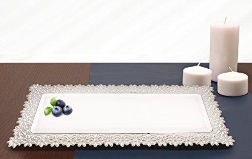 White Flower Rim Rectangle Plastic Serving Tray Pack of 4