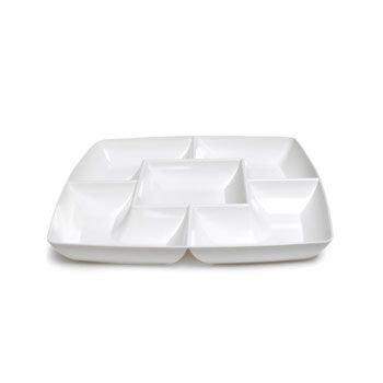 White Square Plastic Compartment Serving Tray 12-inch