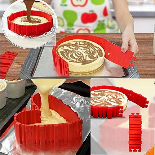 Xiaolanwelc 4 Pcsset Bake Snake Belt DIY Silicone Cake Baking Square Rectangular Round Shape Mold Magic Bakeware Cake Mold Pastry Tools