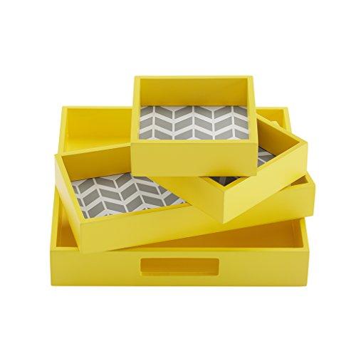 Intelligent Design ID71-533 Nadia 4 Piece Decorative Tray Set 98 x 98 x 178 Yellow