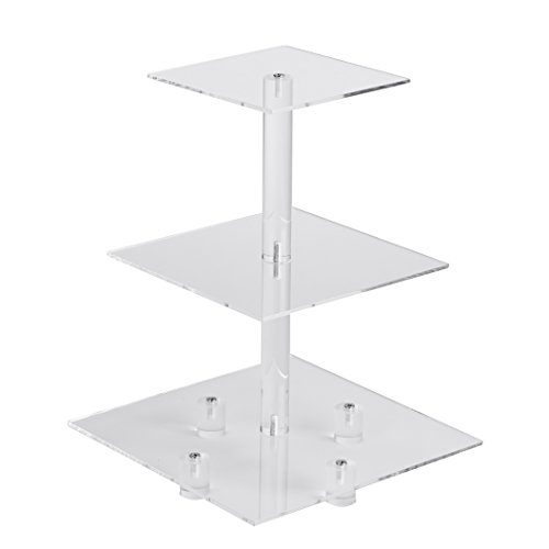YestBuy 3 Tiers Square Party Wedding Birthday Clear Tree Tower Acrylic Cupcake Stand 3 tier square with base6 between 2 layers