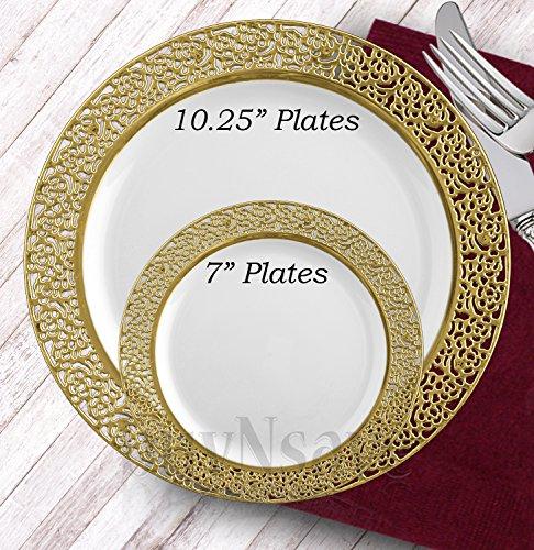 Strong Elegant Formal Plastic Plates Bowls  sc 1 st  The Best Plastic 2018 & Gold Plastic Dinner Plates - The Best Plastic 2018