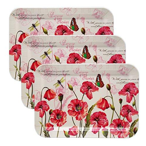 Melamine Butler Serving Tray Set Alpine Poppy Flower Platter Organizer Plates 3PCS 40x28cm Square