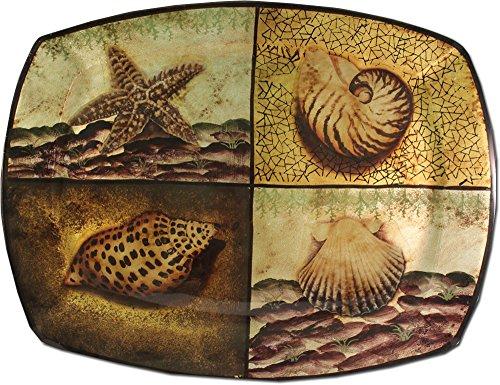 Nautical Seashell Serving Tray - 14 x 10 Melamine Serving Tray