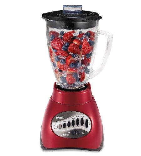 Oster 6844 6-Cup Glass Jar 12-Speed Blender Metallic Red