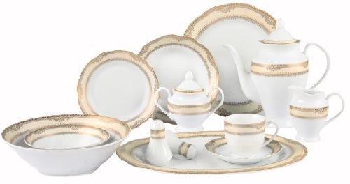 Lorenzo Import Isabella 57-Piece Wavy Porcelain Dinnerware Set
